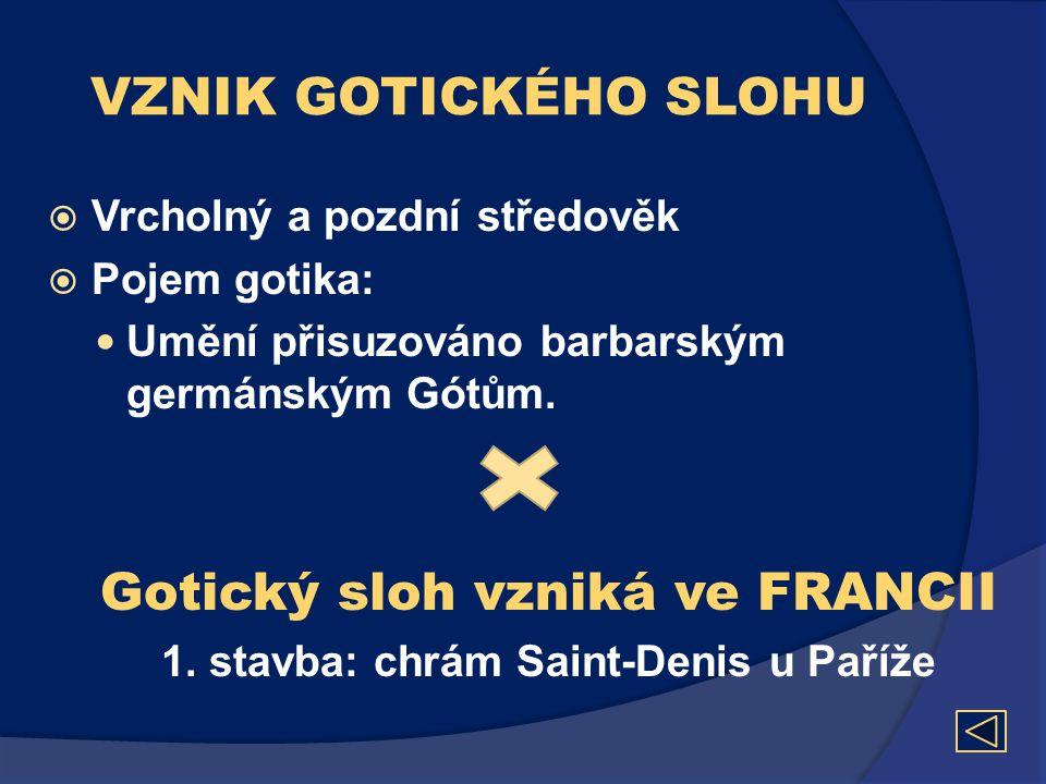 VZNIK GOTICKÉHO SLOHU  Vrcholný a pozdní středověk  Pojem gotika:  Umění přisuzováno barbarským germánským Gótům. Gotický sloh vzniká ve FRANCII 1.