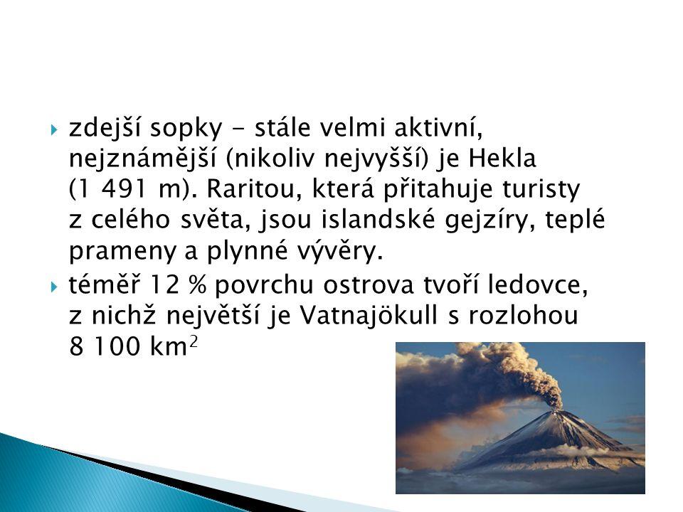 zdejší sopky - stále velmi aktivní, nejznámější (nikoliv nejvyšší) je Hekla (1 491 m).