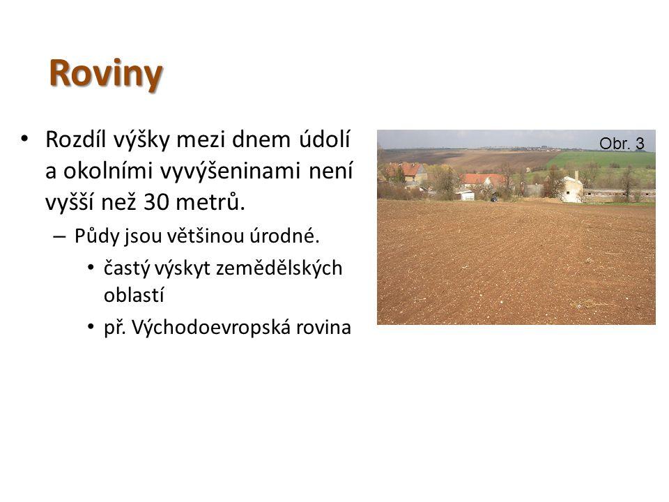Roviny • Rozdíl výšky mezi dnem údolí a okolními vyvýšeninami není vyšší než 30 metrů. – Půdy jsou většinou úrodné. • častý výskyt zemědělských oblast