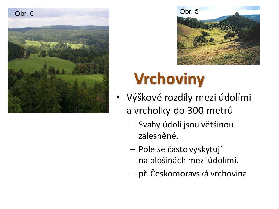 Vrchoviny • Výškové rozdíly mezi údolími a vrcholky do 300 metrů – Svahy údolí jsou většinou zalesněné. – Pole se často vyskytují na plošinách mezi úd