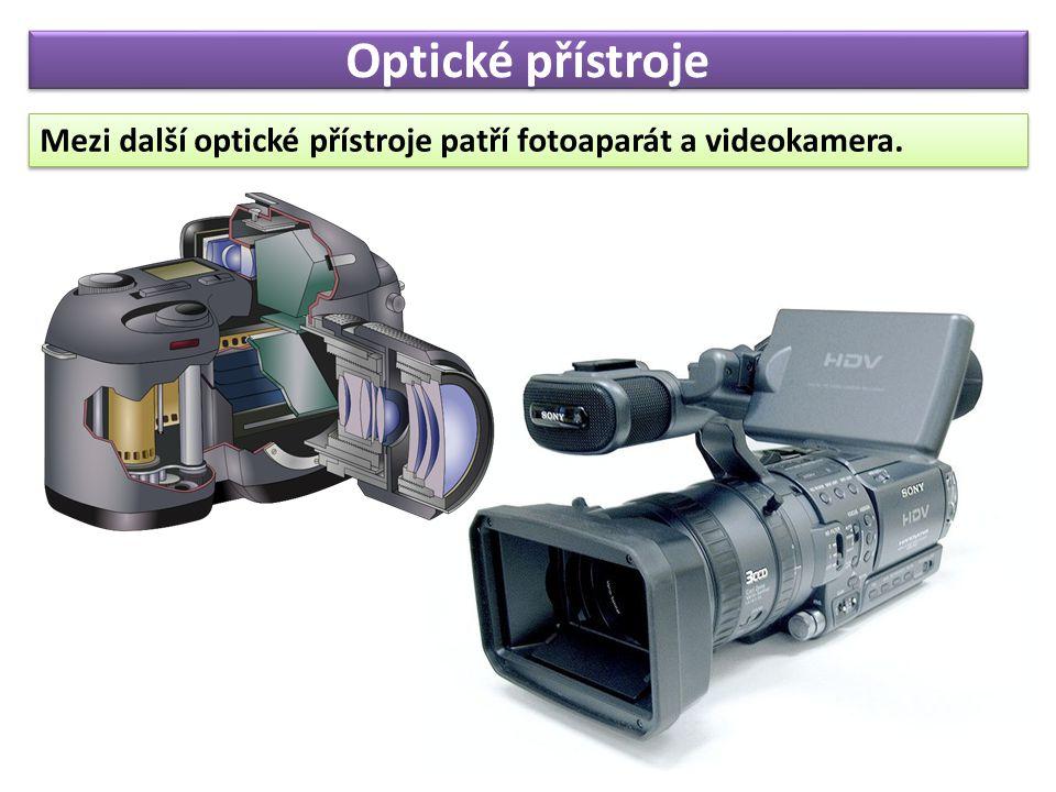 Optické přístroje Mezi další optické přístroje patří fotoaparát a videokamera.