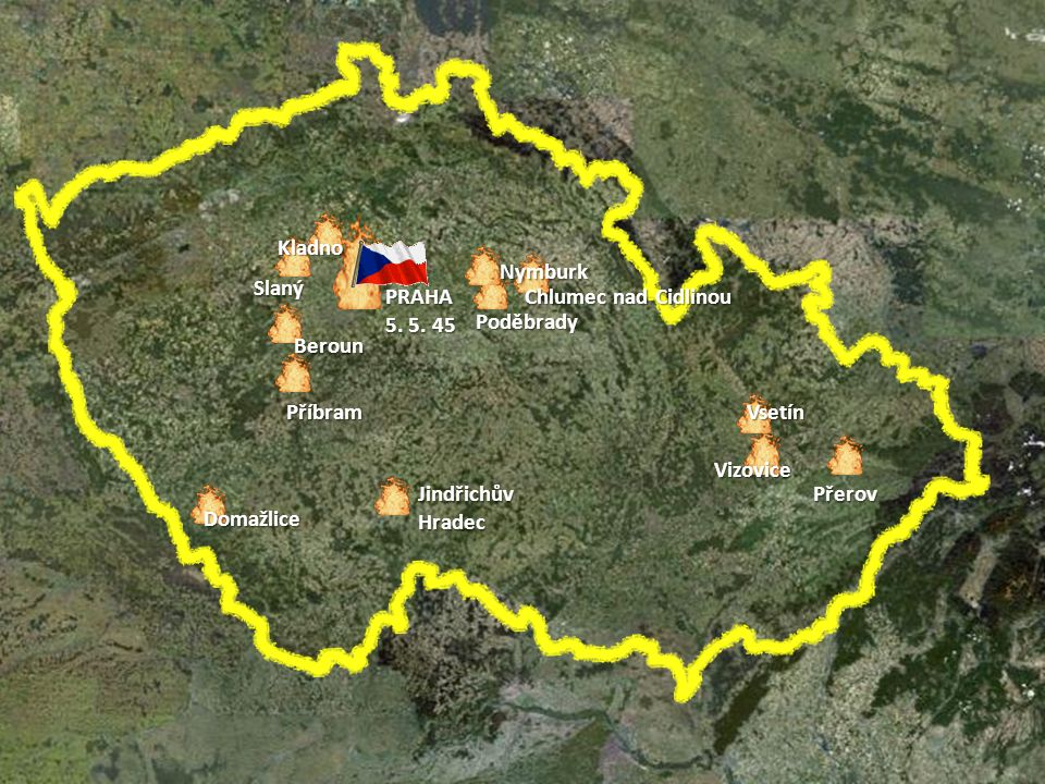 Květnové povstání českého lidu osvobození ČSR 1. 5. - 9. 5. 1945 Celonárodní povstání v protektorátu bylo připravováno východní i západní složkou česk