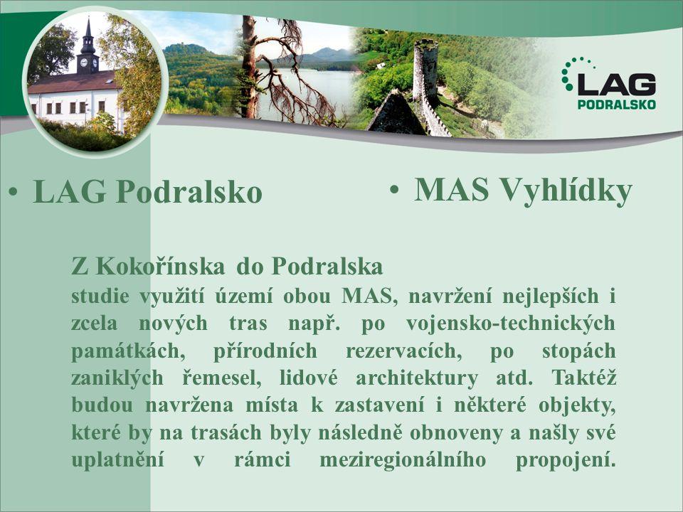•LAG Podralsko •MAS Vyhlídky Z Kokořínska do Podralska studie využití území obou MAS, navržení nejlepších i zcela nových tras např. po vojensko-techni
