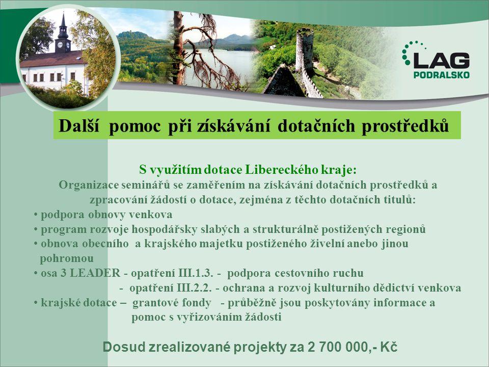 Další pomoc při získávání dotačních prostředků S využitím dotace Libereckého kraje: Organizace seminářů se zaměřením na získávání dotačních prostředků