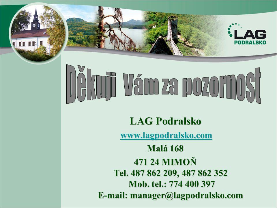LAG Podralsko www.lagpodralsko.com www.lagpodralsko.comwww.lagpodralsko.com Malá 168 471 24 MIMOŇ Tel. 487 862 209, 487 862 352 Mob. tel.: 774 400 397