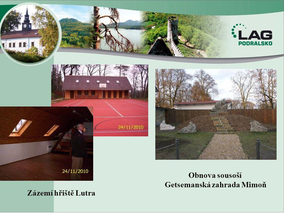Zázemí hřiště Lutra Obnova sousoší Getsemanská zahrada Mimoň