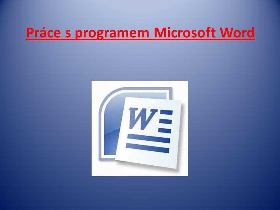 Práce s programem Microsoft Word