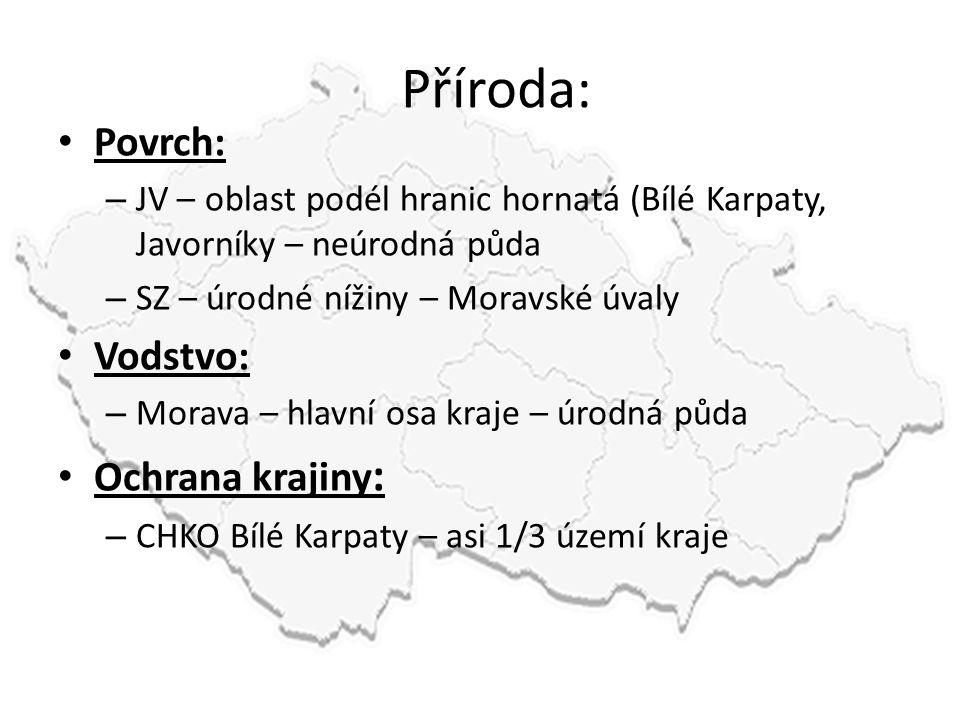 Příroda: • Povrch: – JV – oblast podél hranic hornatá (Bílé Karpaty, Javorníky – neúrodná půda – SZ – úrodné nížiny – Moravské úvaly • Vodstvo: – Mora