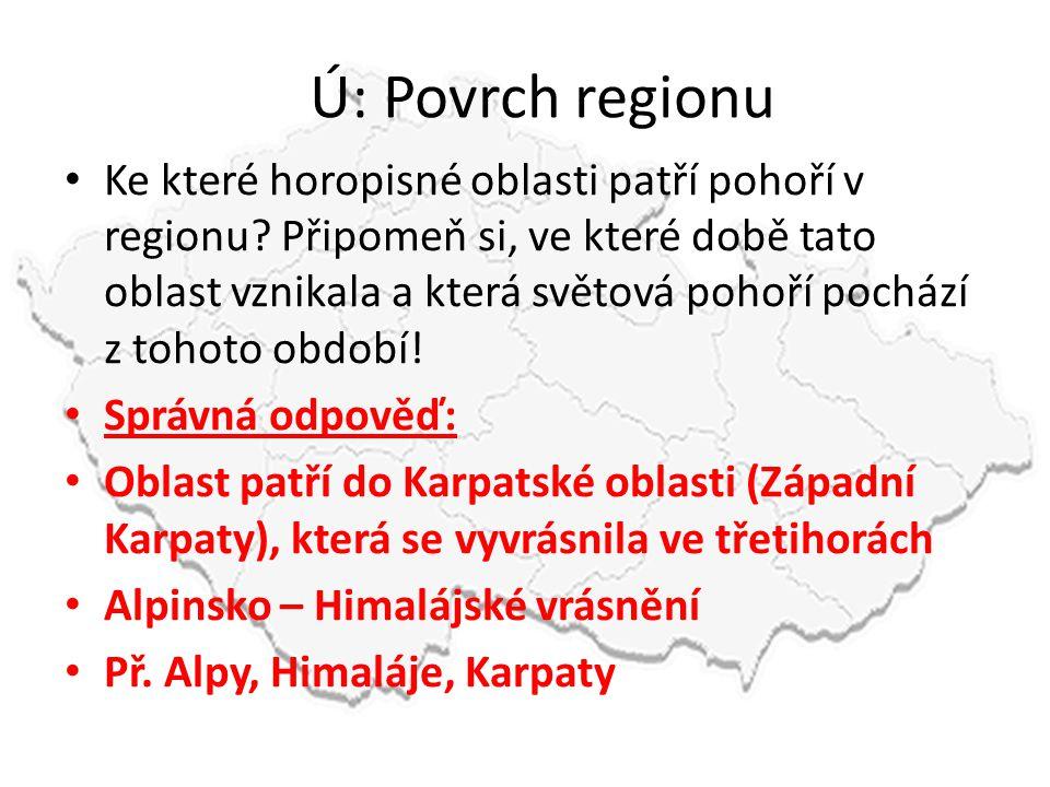 Ú: Povrch regionu • Ke které horopisné oblasti patří pohoří v regionu? Připomeň si, ve které době tato oblast vznikala a která světová pohoří pochází