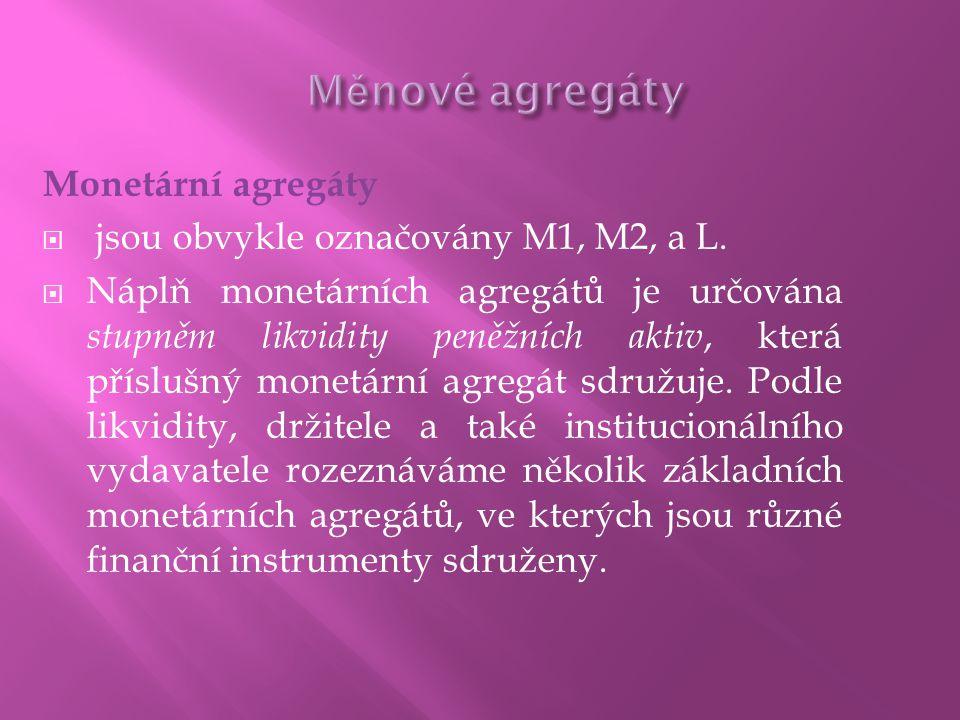  Monetární báze je často označována jako mocné peníze (high-powered money) dM = m.