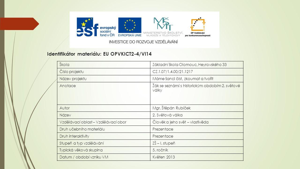 Identifikátor materiálu: EU OPVKICT2-4/Vl14 ŠkolaZákladní škola Olomouc, Heyrovského 33 Číslo projektuCZ.1.07/1.4.00/21.1217 Název projektuMáme šanci