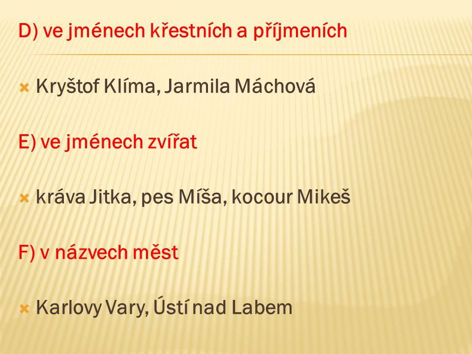 D) ve jménech křestních a příjmeních  Kryštof Klíma, Jarmila Máchová E) ve jménech zvířat  kráva Jitka, pes Míša, kocour Mikeš F) v názvech měst  K