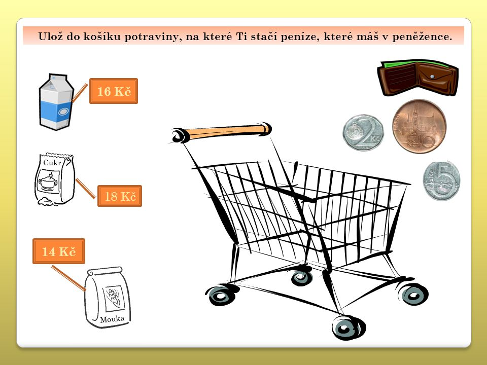 Ulož do košíku potraviny, na které Ti stačí peníze, které máš v peněžence. 16 Kč 14 Kč Mouka 18 Kč Cukr