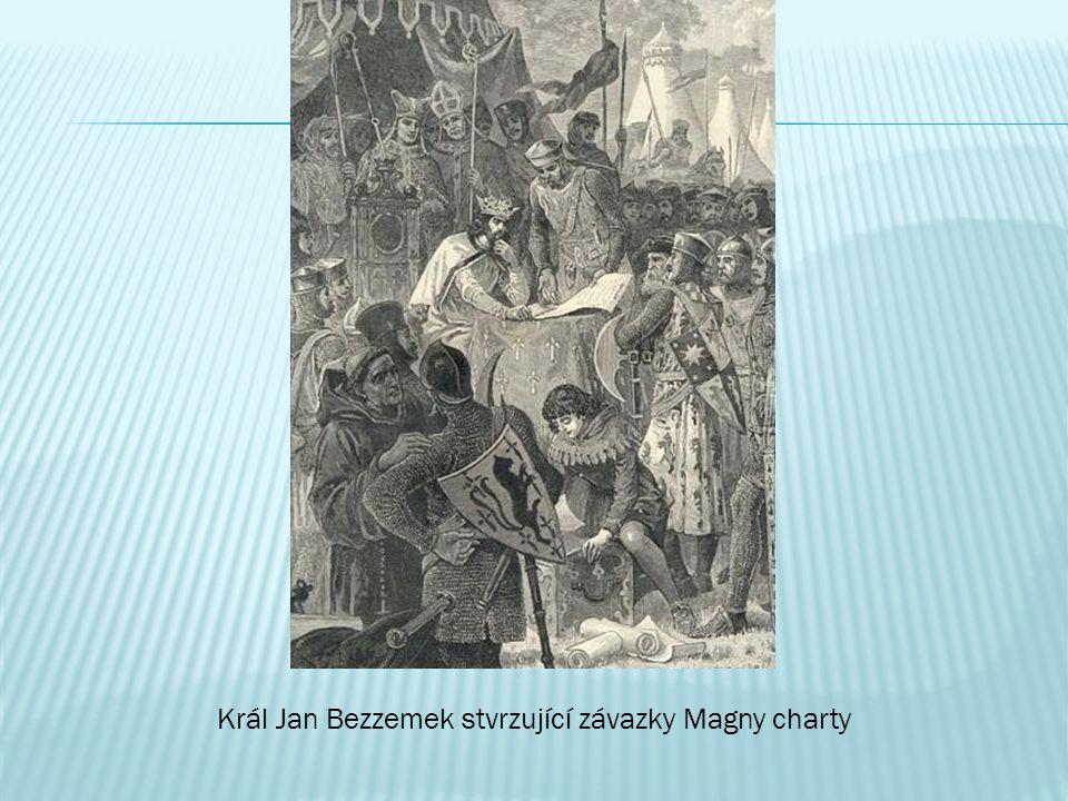Král Jan Bezzemek stvrzující závazky Magny charty