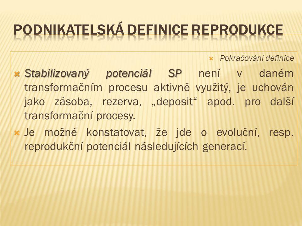  Pokračování definice  Stabilizovaný potenciál SP  Stabilizovaný potenciál SP není v daném transformačním procesu aktivně využitý, je uchován jako