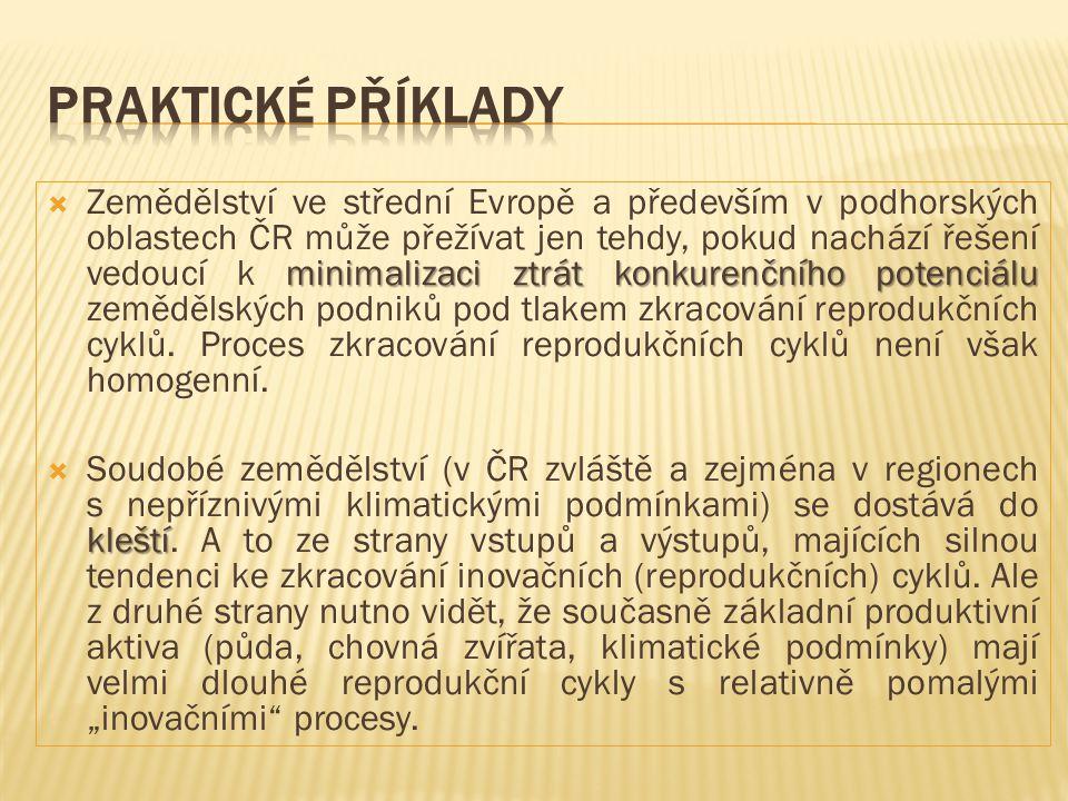 minimalizaci ztrát konkurenčního potenciálu  Zemědělství ve střední Evropě a především v podhorských oblastech ČR může přežívat jen tehdy, pokud nach