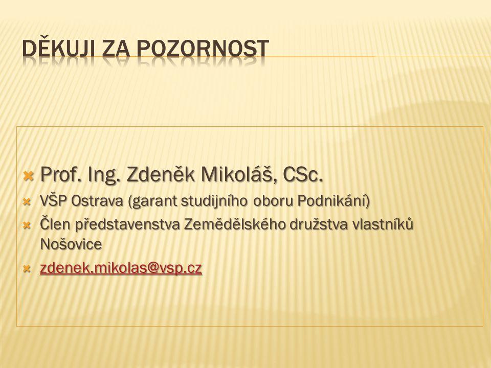  Prof. Ing. Zdeněk Mikoláš, CSc.  VŠP Ostrava (garant studijního oboru Podnikání)  Člen představenstva Zemědělského družstva vlastníků Nošovice  z