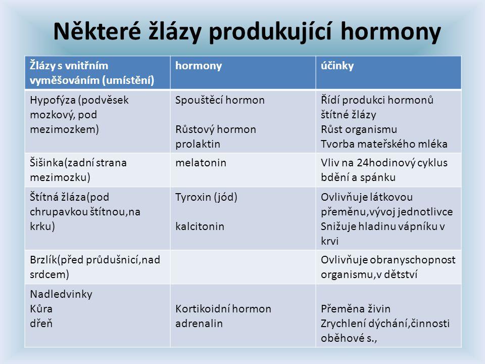 Některé žlázy produkující hormony Žlázy s vnitřním vyměšováním (umístění) hormonyúčinky Hypofýza (podvěsek mozkový, pod mezimozkem) Spouštěcí hormon Růstový hormon prolaktin Řídí produkci hormonů štítné žlázy Růst organismu Tvorba mateřského mléka Šišinka(zadní strana mezimozku) melatoninVliv na 24hodinový cyklus bdění a spánku Štítná žláza(pod chrupavkou štítnou,na krku) Tyroxin (jód) kalcitonin Ovlivňuje látkovou přeměnu,vývoj jednotlivce Snižuje hladinu vápníku v krvi Brzlík(před průdušnicí,nad srdcem) Ovlivňuje obranyschopnost organismu,v dětství Nadledvinky Kůra dřeň Kortikoidní hormon adrenalin Přeměna živin Zrychlení dýchání,činnosti oběhové s.,