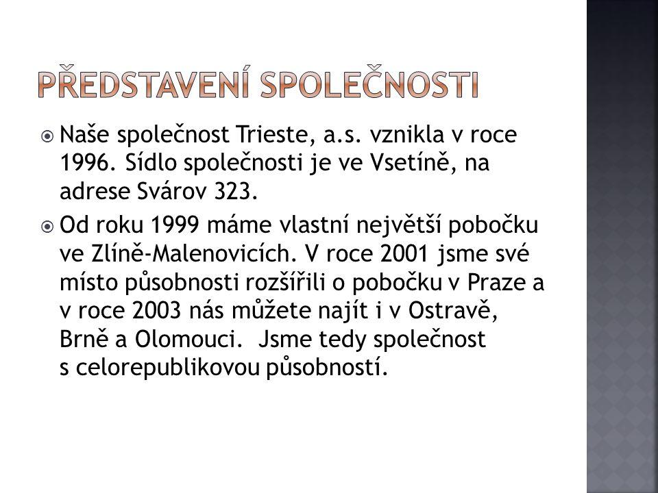  Naše společnost Trieste, a.s. vznikla v roce 1996. Sídlo společnosti je ve Vsetíně, na adrese Svárov 323.  Od roku 1999 máme vlastní největší poboč
