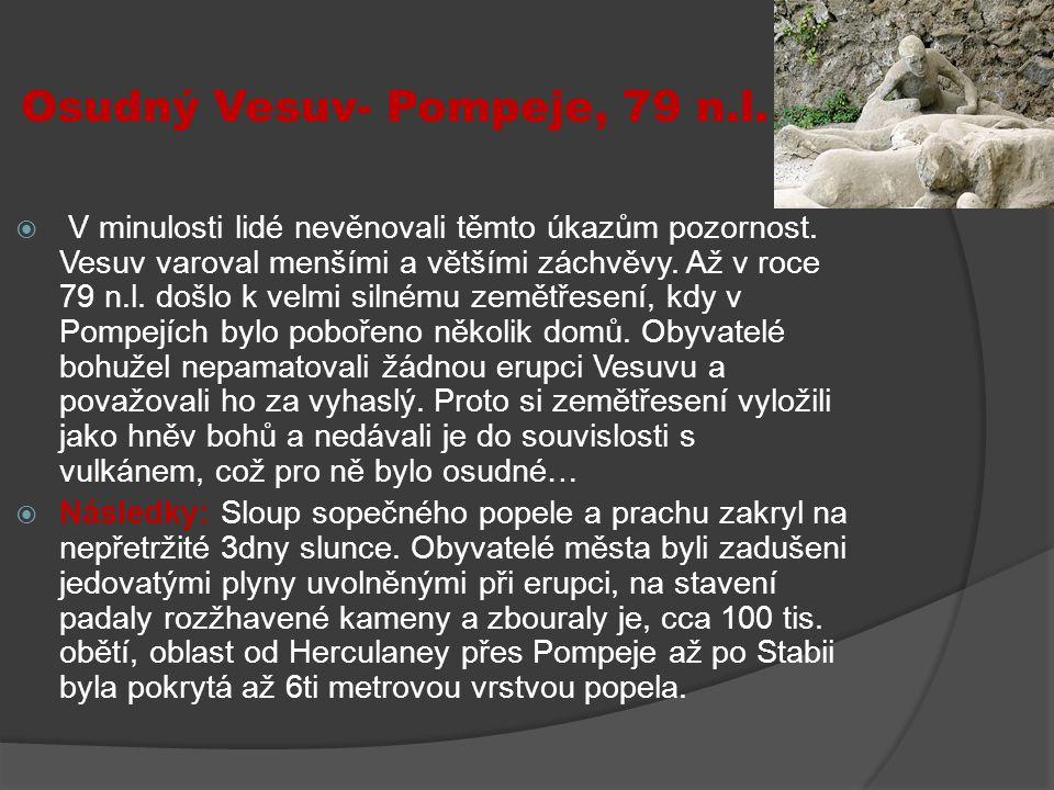 Osudný Vesuv- Pompeje, 79 n.l.  V minulosti lidé nevěnovali těmto úkazům pozornost. Vesuv varoval menšími a většími záchvěvy. Až v roce 79 n.l. došlo