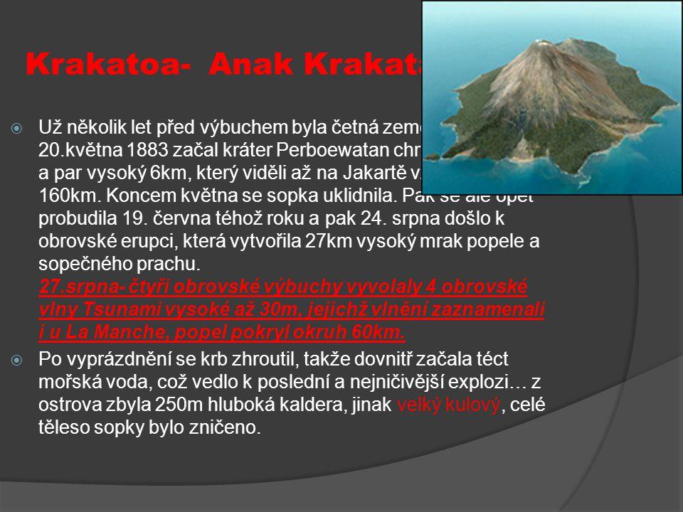 Krakatoa- Anak Krakatau, 1883  Už několik let před výbuchem byla četná zemětřesení. Dne 20.května 1883 začal kráter Perboewatan chrlit mrak popela a