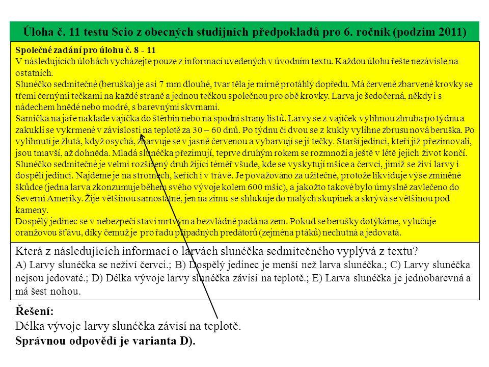 Úloha č. 11 testu Scio z obecných studijních předpokladů pro 6. ročník (podzim 2011) Která z následujících informací o larvách slunéčka sedmitečného v