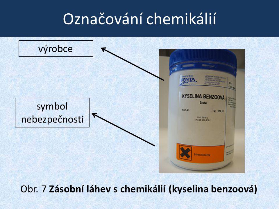 Označování chemikálií Obr. 7 Zásobní láhev s chemikálií (kyselina benzoová) symbol nebezpečnosti výrobce