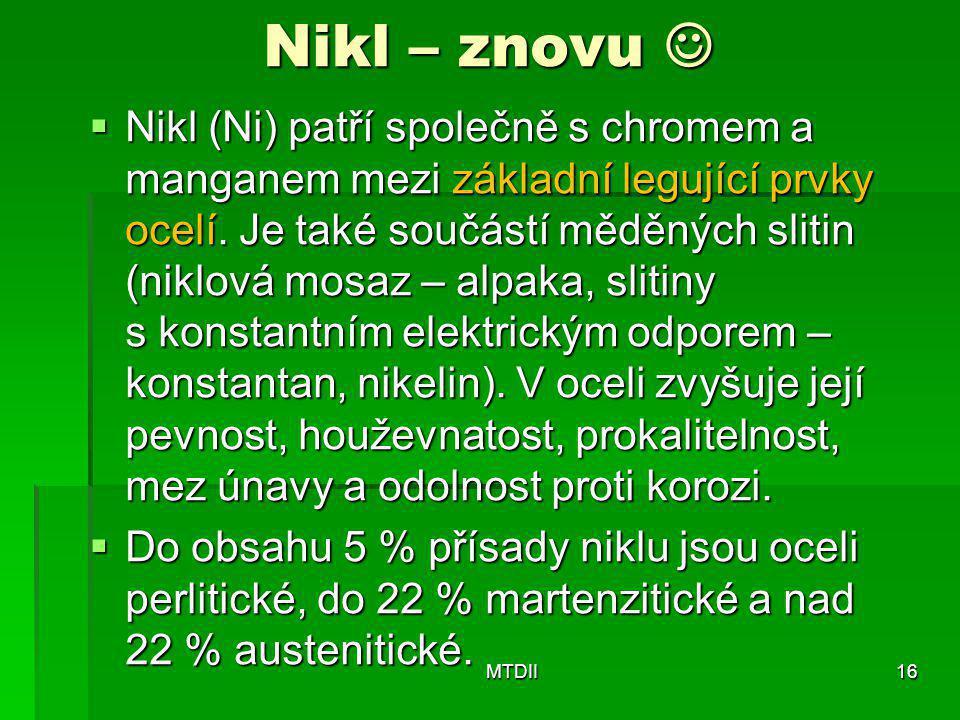 Nikl – znovu   Nikl (Ni) patří společně s chromem a manganem mezi základní legující prvky ocelí. Je také součástí měděných slitin (niklová mosaz – a