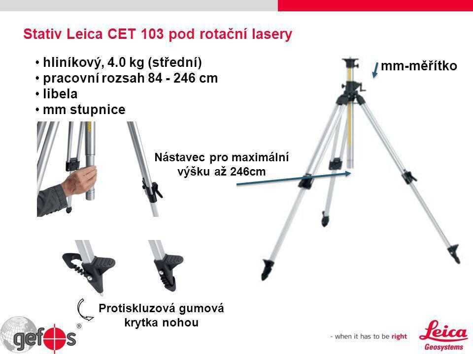 Nástavec pro maximální výšku až 246cm mm-měřítko • hliníkový, 4.0 kg (střední) • pracovní rozsah 84 - 246 cm • libela • mm stupnice Stativ Leica CET 1