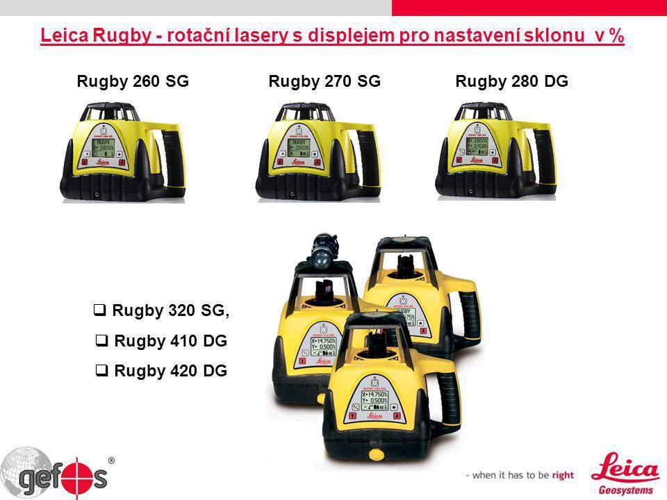 Leica Rugby - rotační lasery s displejem pro nastavení sklonu v %  Rugby 320 SG,  Rugby 410 DG  Rugby 420 DG Rugby 260 SG Rugby 270 SG Rugby 280 DG