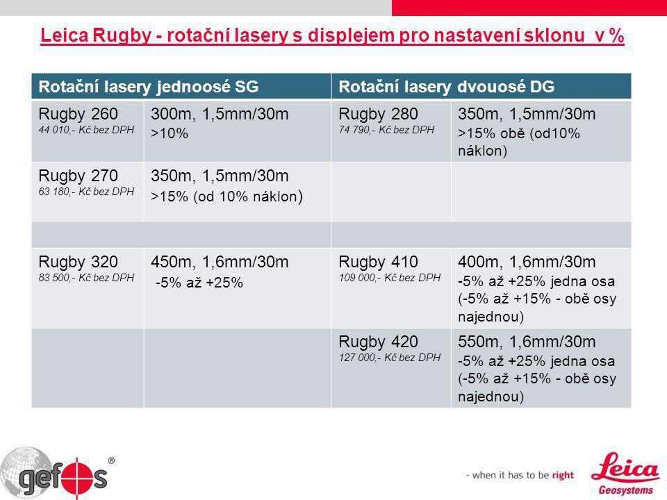 Rotační lasery jednoosé SGRotační lasery dvouosé DG Rugby 260 44 010,- Kč bez DPH 300m, 1,5mm/30m >10% Rugby 280 74 790,- Kč bez DPH 350m, 1,5mm/30m >