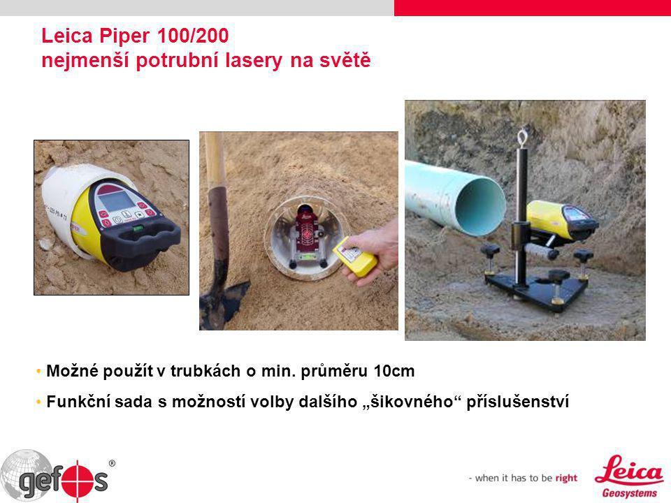 """Leica Piper 100/200 nejmenší potrubní lasery na světě • Možné použít v trubkách o min. průměru 10cm • Funkční sada s možností volby dalšího """"šikovného"""