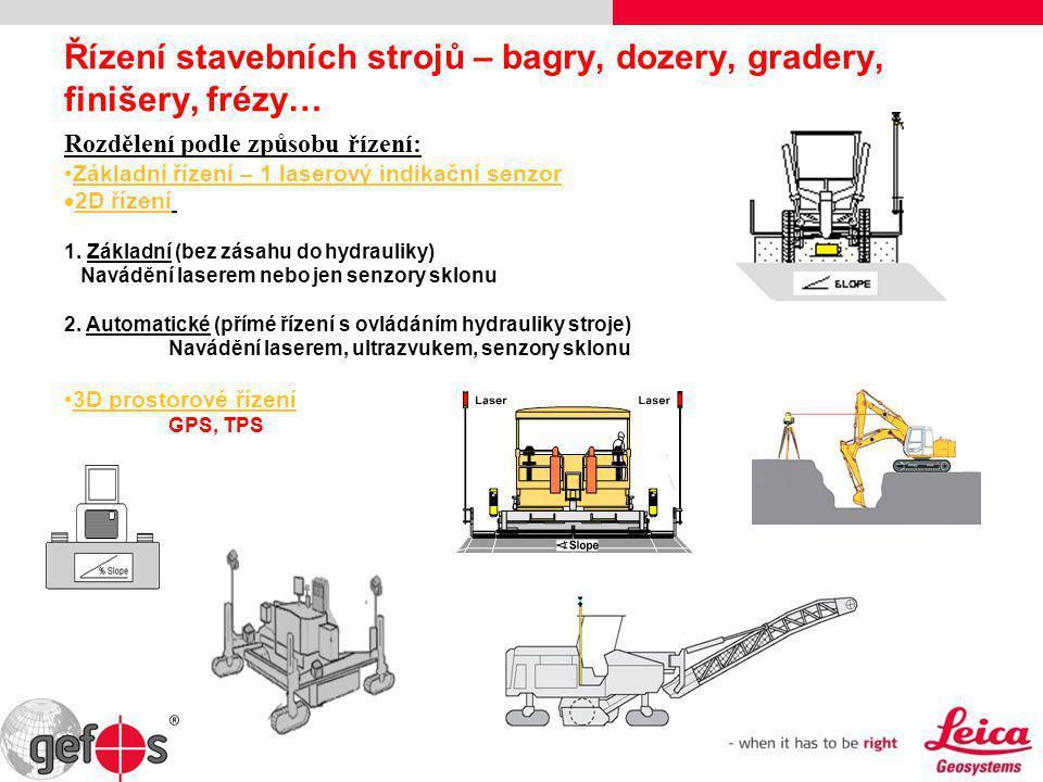 Řízení stavebních strojů – bagry, dozery, gradery, finišery, frézy… Rozdělení podle způsobu řízení: •Základní řízení – 1 laserový indikační senzor  2
