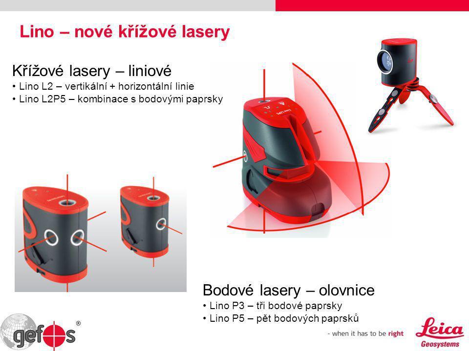Lino – nové křížové lasery Bodové lasery – olovnice • Lino P3 – tři bodové paprsky • Lino P5 – pět bodových paprsků Křížové lasery – liniové • Lino L2