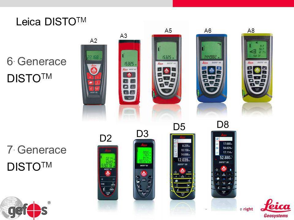 A2 A5 Leica DISTO TM 6. Generace DISTO TM A3 A8A6 D5 D3 D2 7. Generace DISTO TM D8