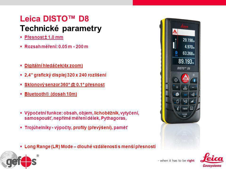 """Leica DISTO™ D8 Technické parametry  Přesnost ± 1.0 mm  Rozsah měření: 0.05 m - 200 m  Digitální hledáček(4x zoom)  2,4"""" grafický displej 320 x 24"""