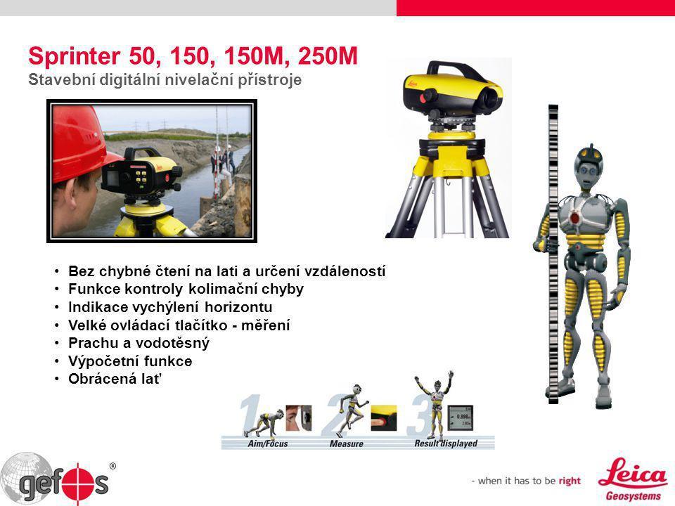 Sprinter 50, 150, 150M, 250M Stavební digitální nivelační přístroje • Bez chybné čtení na lati a určení vzdáleností • Funkce kontroly kolimační chyby