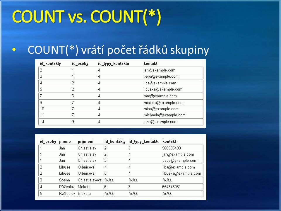 • COUNT(*) vrátí počet řádků skupiny