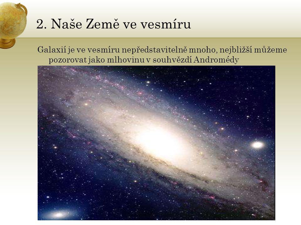 2. Naše Země ve vesmíru Galaxií je ve vesmíru nepředstavitelně mnoho, nejbližší můžeme pozorovat jako mlhovinu v souhvězdí Andromédy