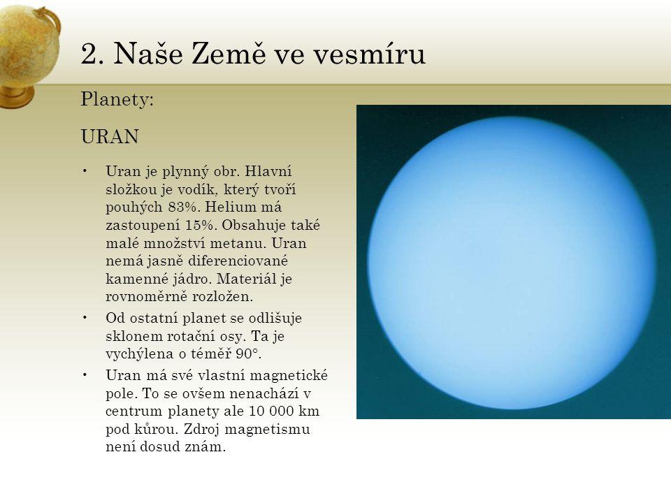 2. Naše Země ve vesmíru Planety: URAN •Uran je plynný obr. Hlavní složkou je vodík, který tvoří pouhých 83%. Helium má zastoupení 15%. Obsahuje také m