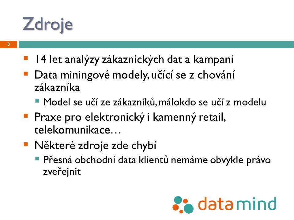 Zdroje  14 let analýzy zákaznických dat a kampaní  Data miningové modely, učící se z chování zákazníka  Model se učí ze zákazníků, málokdo se učí z