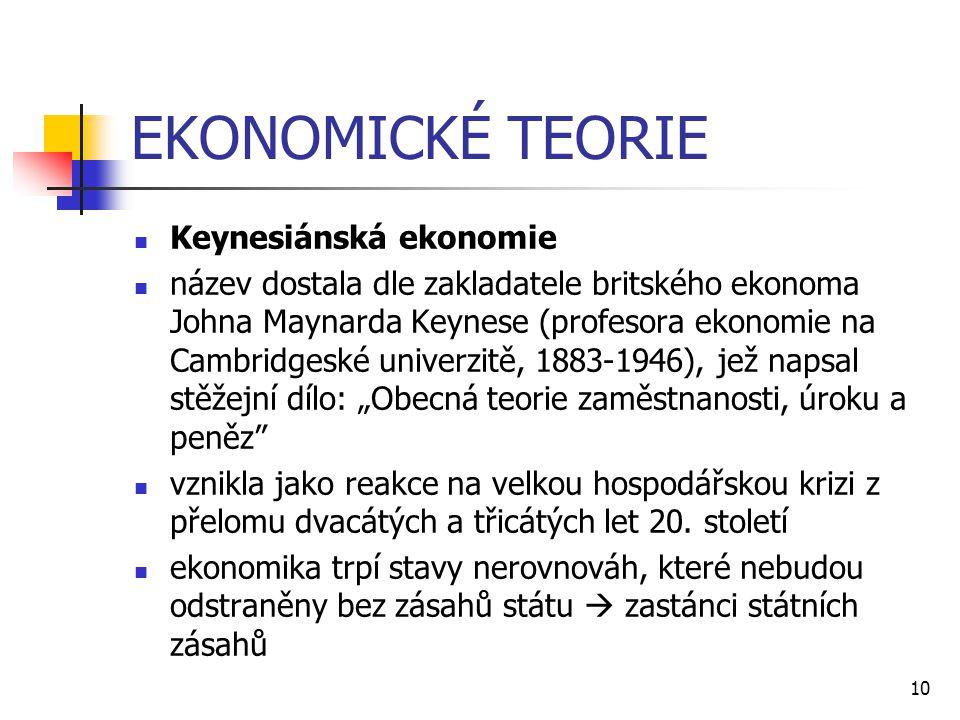 10 EKONOMICKÉ TEORIE  Keynesiánská ekonomie  název dostala dle zakladatele britského ekonoma Johna Maynarda Keynese (profesora ekonomie na Cambridge