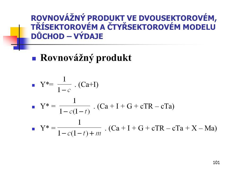 101 ROVNOVÁŽNÝ PRODUKT VE DVOUSEKTOROVÉM, TŘÍSEKTOROVÉM A ČTYŘSEKTOROVÉM MODELU DŮCHOD – VÝDAJE  Rovnovážný produkt  Y*=. (Ca+I)  Y* =. (Ca + I + G