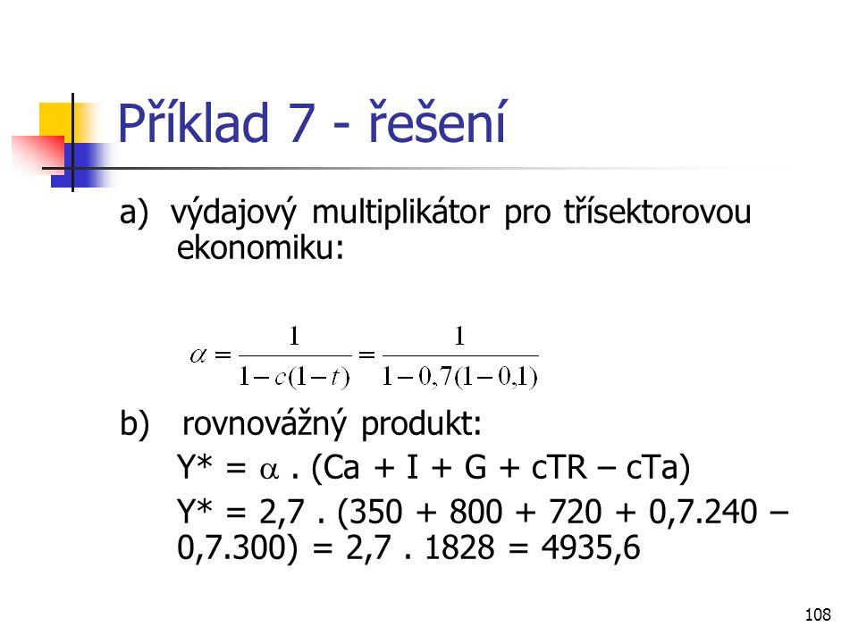 108 Příklad 7 - řešení a) výdajový multiplikátor pro třísektorovou ekonomiku: b) rovnovážný produkt: Y* = . (Ca + I + G + cTR – cTa) Y* = 2,7. (350 +
