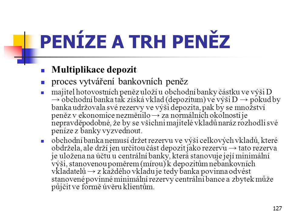 127 PENÍZE A TRH PENĚZ  Multiplikace depozit  proces vytváření bankovních peněz  majitel hotovostních peněz uloží u obchodní banky částku ve výši D
