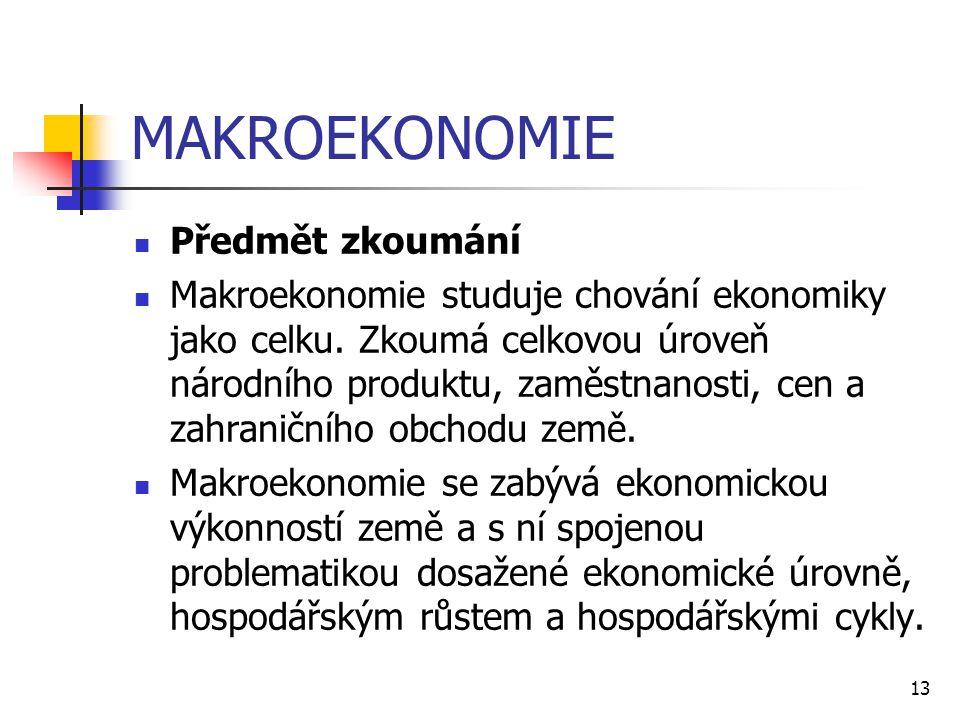 13 MAKROEKONOMIE  Předmět zkoumání  Makroekonomie studuje chování ekonomiky jako celku. Zkoumá celkovou úroveň národního produktu, zaměstnanosti, ce