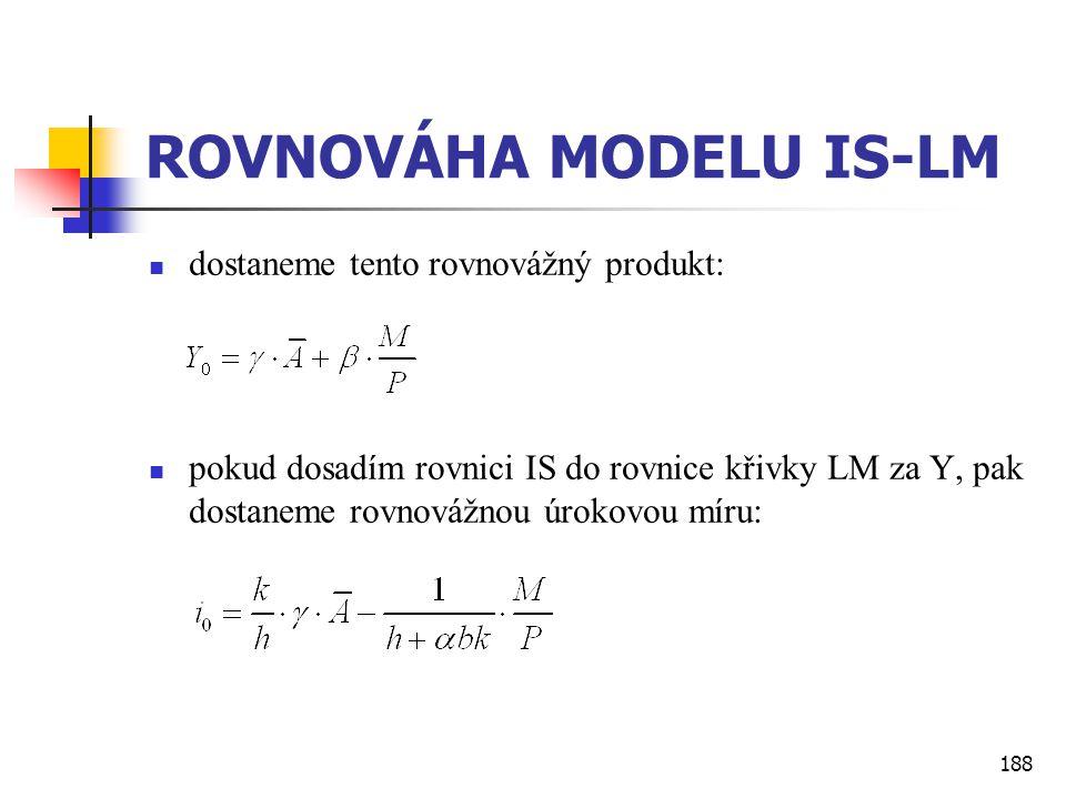188 ROVNOVÁHA MODELU IS-LM  dostaneme tento rovnovážný produkt:  pokud dosadím rovnici IS do rovnice křivky LM za Y, pak dostaneme rovnovážnou úroko