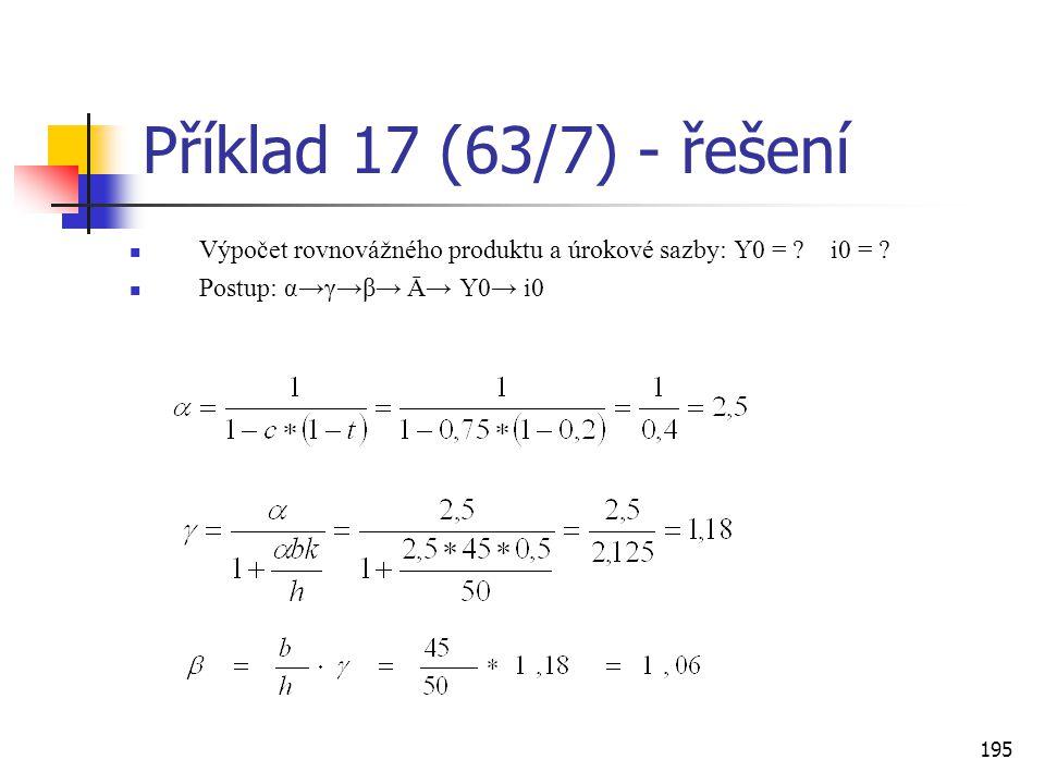 195 Příklad 17 (63/7) - řešení  Výpočet rovnovážného produktu a úrokové sazby: Y0 = ? i0 = ?  Postup: α→γ→β→ Ā→ Y0→ i0