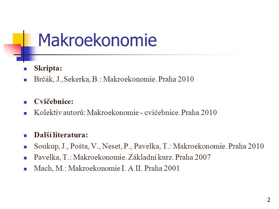 Makroekonomie  Skripta:  Brčák, J.,Sekerka, B.: Makroekonomie. Praha 2010  Cvičebnice:  Kolektiv autorů: Makroekonomie - cvičebnice. Praha 2010 
