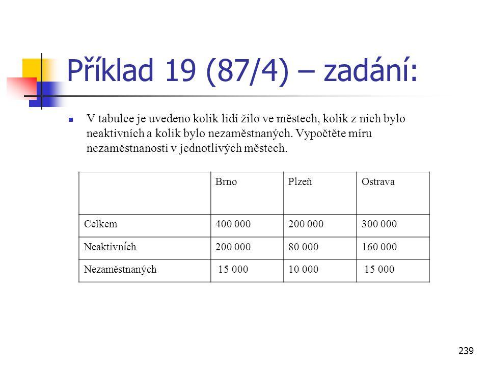239 Příklad 19 (87/4) – zadání:  V tabulce je uvedeno kolik lidí žilo ve městech, kolik z nich bylo neaktivních a kolik bylo nezaměstnaných. Vypočtět